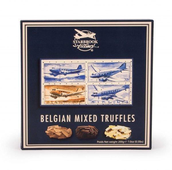 Voorkant van de verpakking van gemengde chocolade truffels