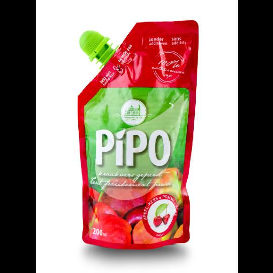 Een rood pouch zakje appelsap met kers van PIPO 200ml