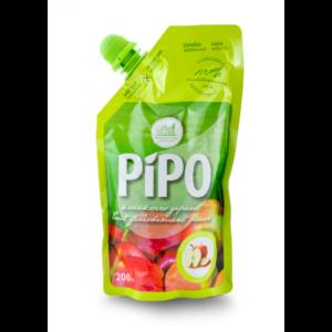 Een groen pouch zakje appelsap van PIPO 200ml